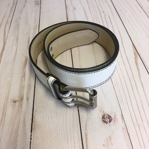 New York & Company white genuine leather belt NEW